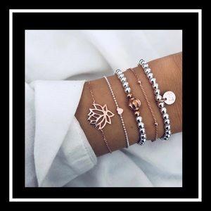 Jewelry - Gorgeous 5pc bohemian lotus bracelet
